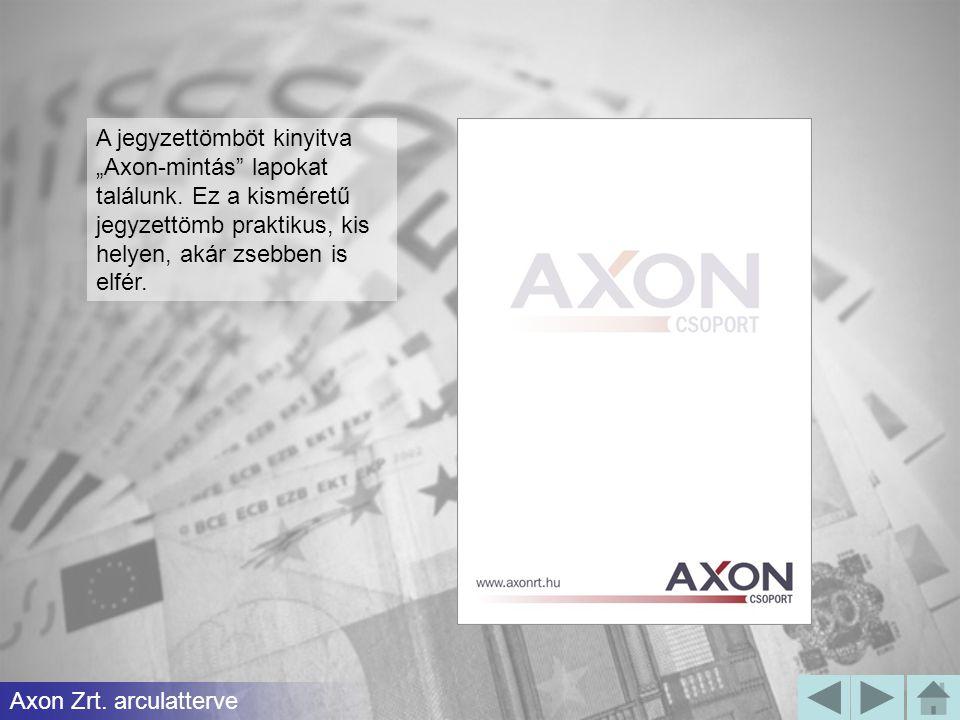"""A jegyzettömböt kinyitva """"Axon-mintás lapokat találunk"""
