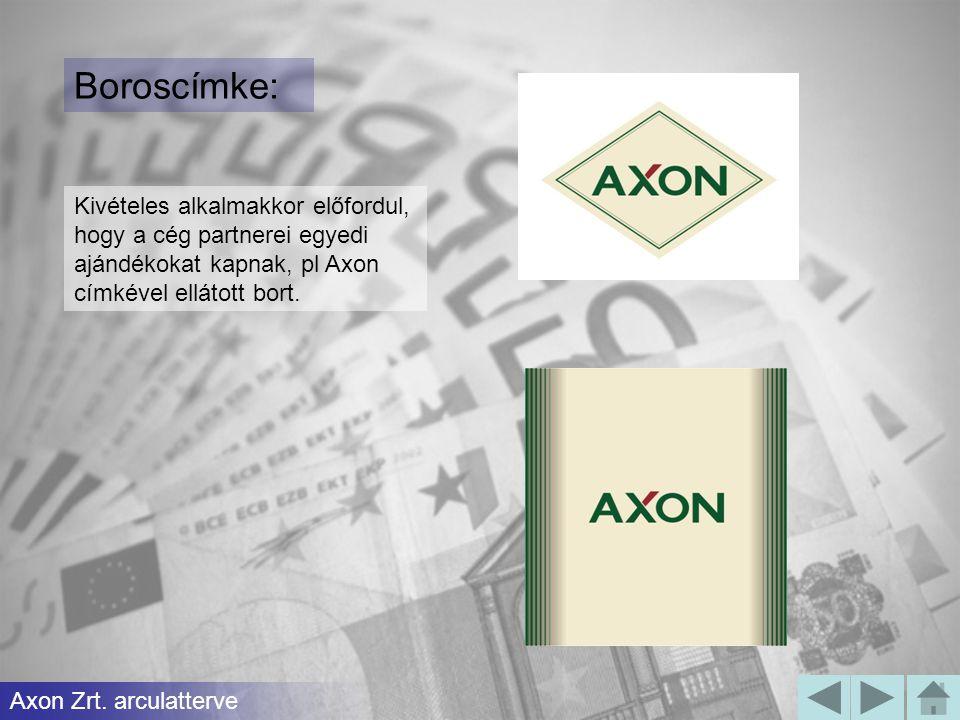 Boroscímke: Kivételes alkalmakkor előfordul, hogy a cég partnerei egyedi ajándékokat kapnak, pl Axon címkével ellátott bort.