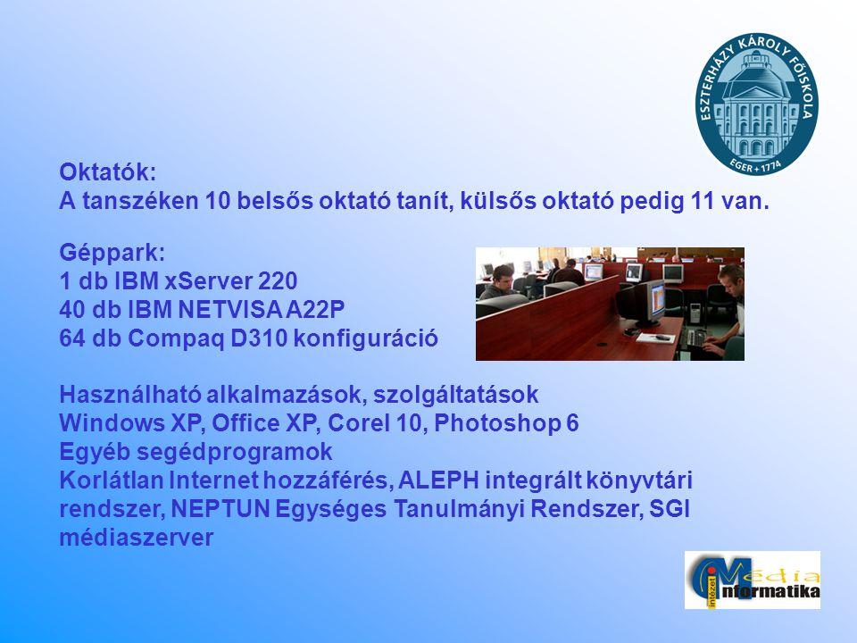 Oktatók: A tanszéken 10 belsős oktató tanít, külsős oktató pedig 11 van. Géppark: 1 db IBM xServer 220.