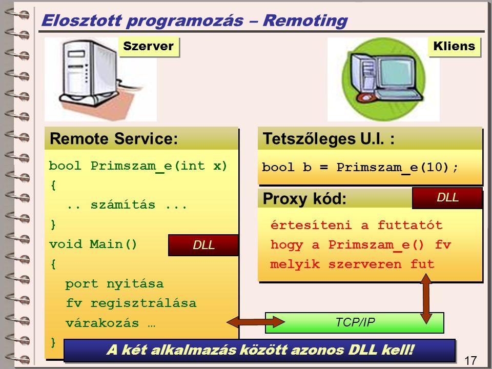 A két alkalmazás között azonos DLL kell!