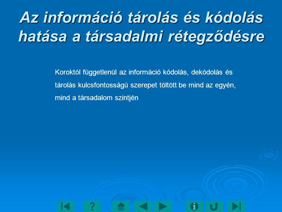 Az információ tárolás és kódolás hatása a társadalmi rétegződésre