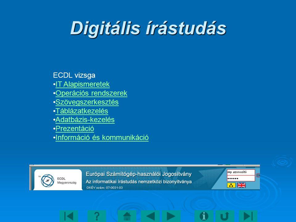Digitális írástudás ECDL vizsga IT Alapismeretek Operációs rendszerek