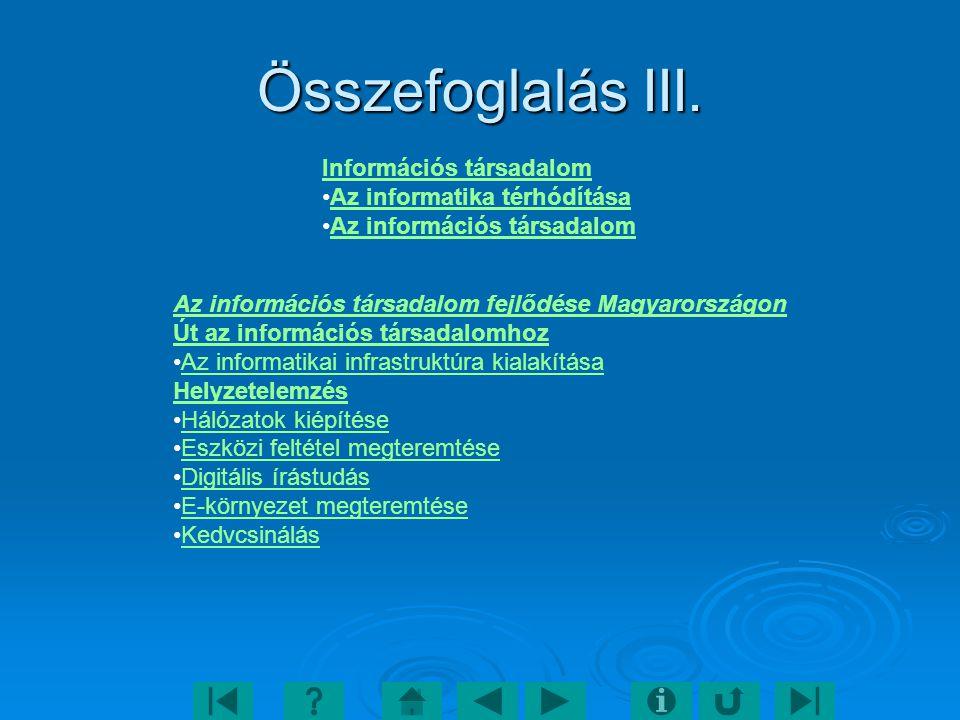 Összefoglalás III. Információs társadalom Az informatika térhódítása
