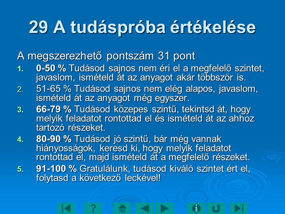 29 A tudáspróba értékelése