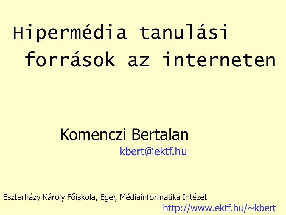 Hipermédia tanulási források az interneten