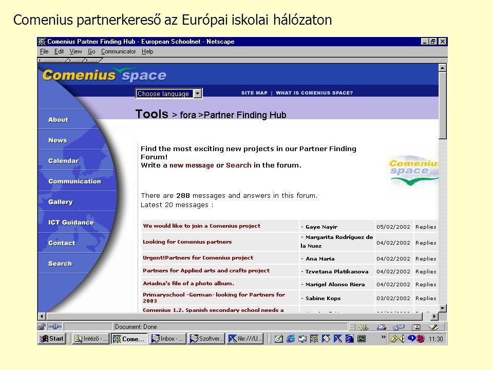Comenius partnerkereső az Európai iskolai hálózaton