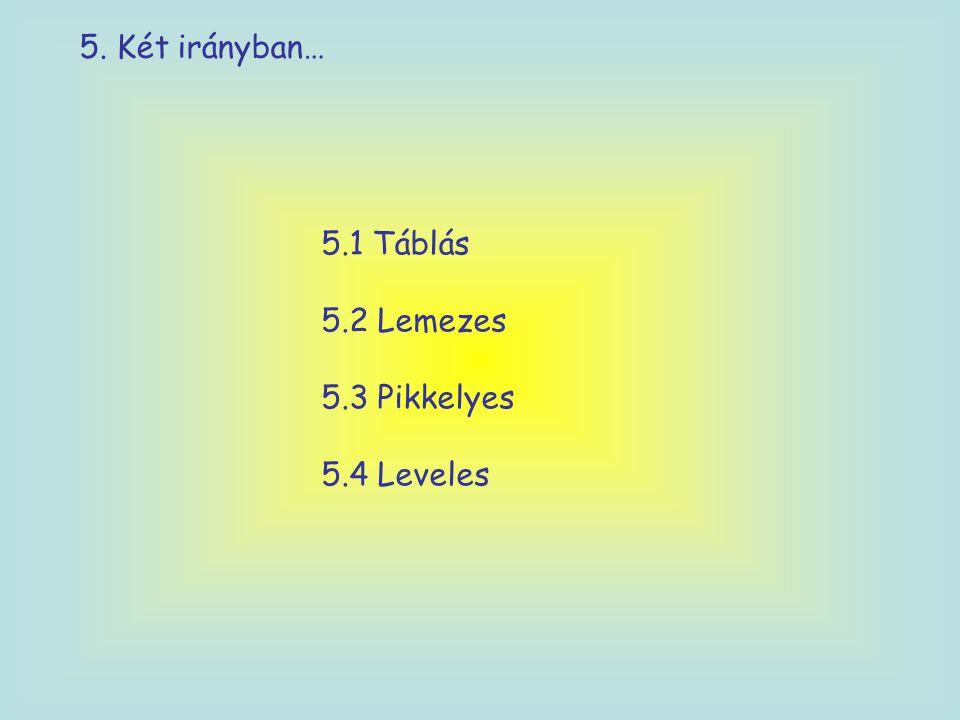 5. Két irányban… 5.1 Táblás 5.2 Lemezes 5.3 Pikkelyes 5.4 Leveles