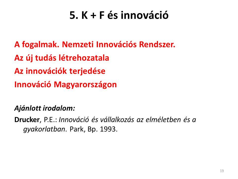 5. K + F és innováció A fogalmak. Nemzeti Innovációs Rendszer.