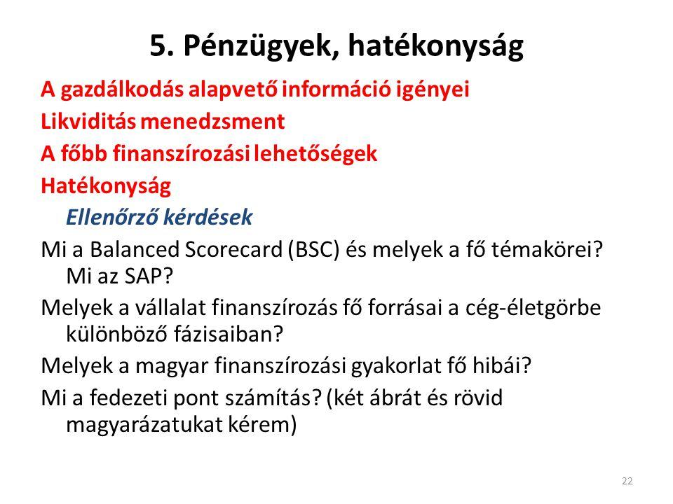 5. Pénzügyek, hatékonyság