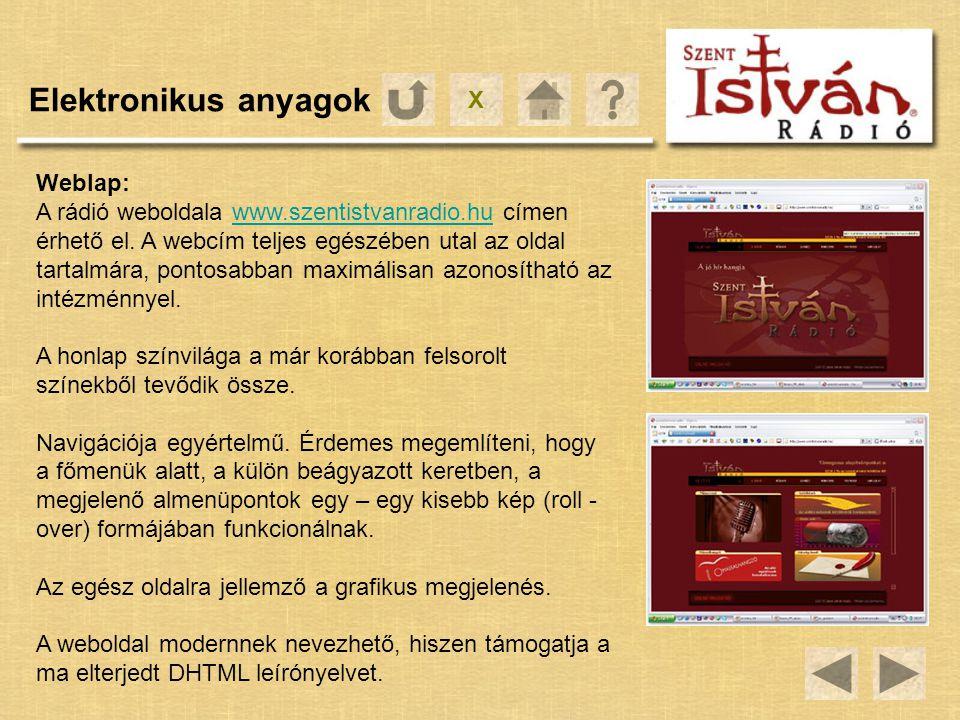 Elektronikus anyagok X Weblap: