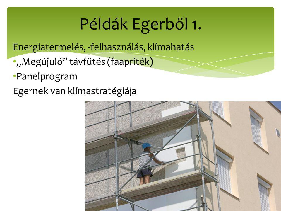 Példák Egerből 1. Energiatermelés, -felhasználás, klímahatás