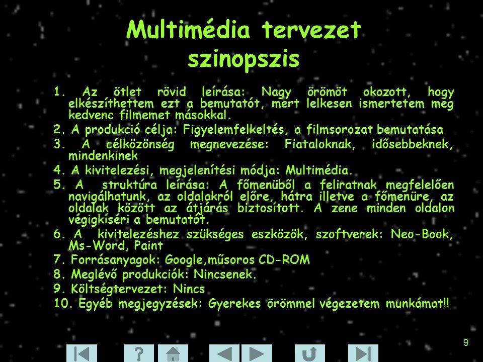 Multimédia tervezet szinopszis