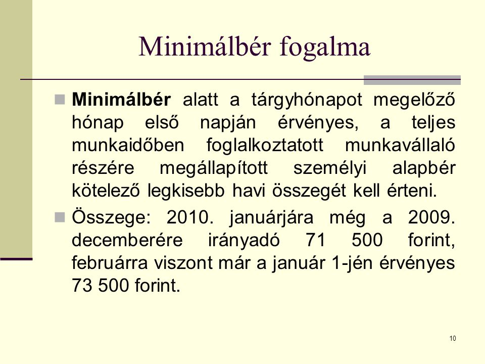 Minimálbér fogalma