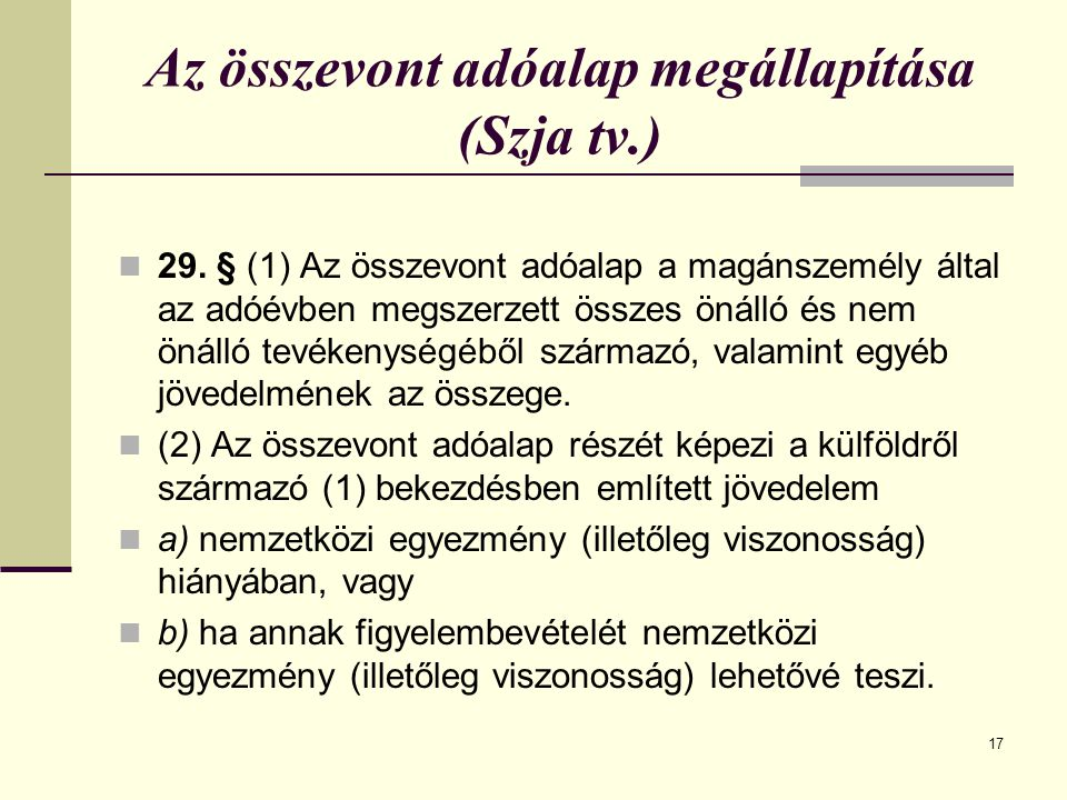 Az összevont adóalap megállapítása (Szja tv.)