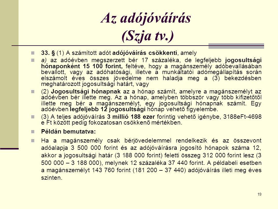 Az adójóváírás (Szja tv.)