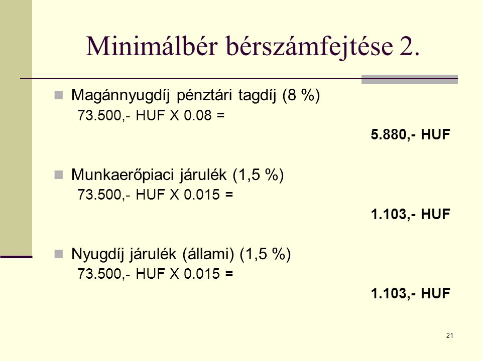 Minimálbér bérszámfejtése 2.