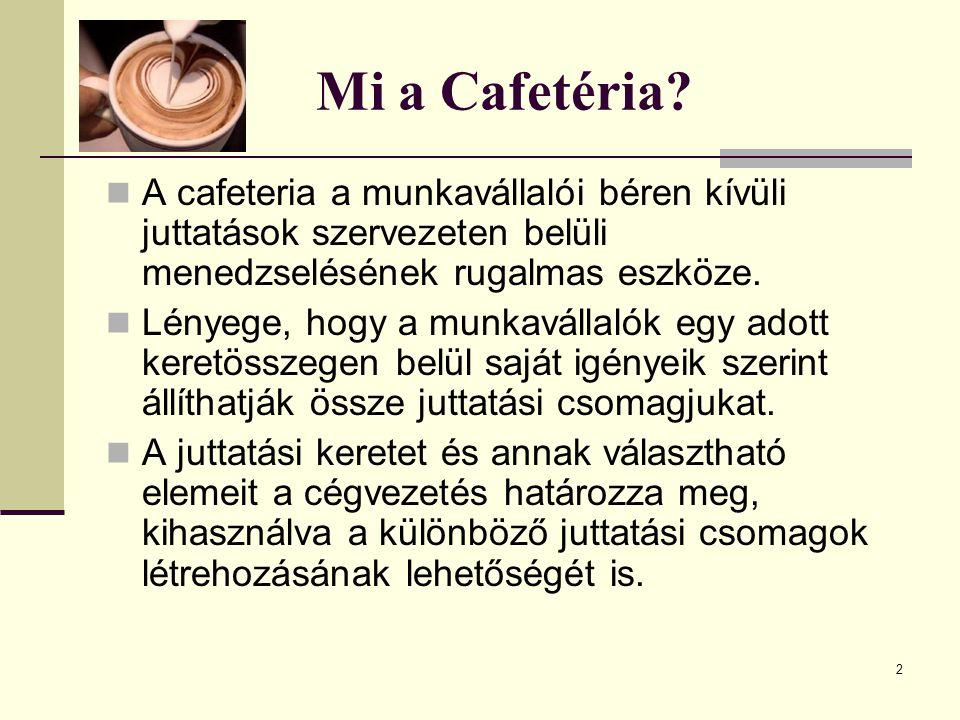 Mi a Cafetéria A cafeteria a munkavállalói béren kívüli juttatások szervezeten belüli menedzselésének rugalmas eszköze.