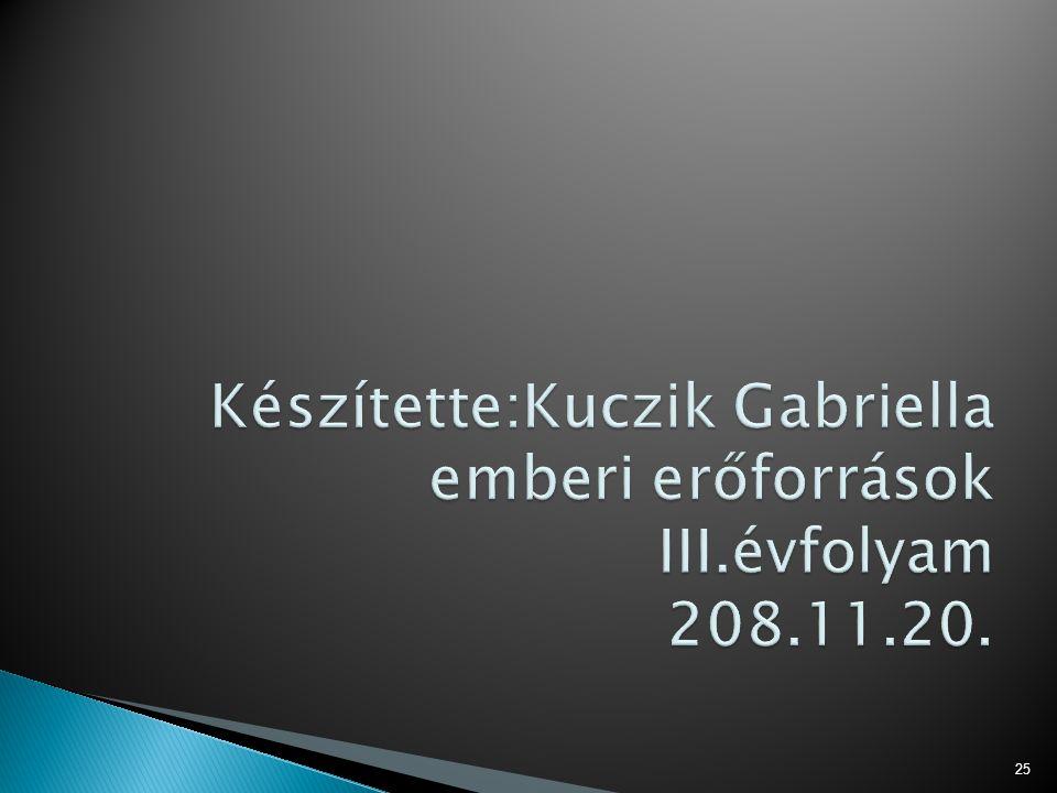 Készítette:Kuczik Gabriella emberi erőforrások III.évfolyam 208.11.20.