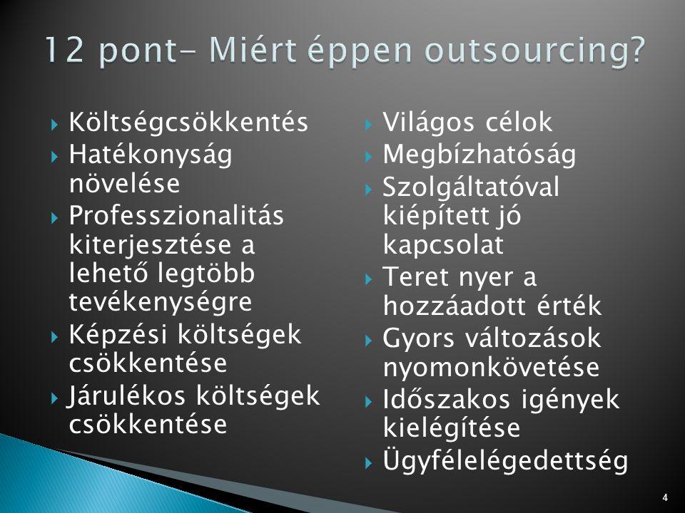 12 pont- Miért éppen outsourcing