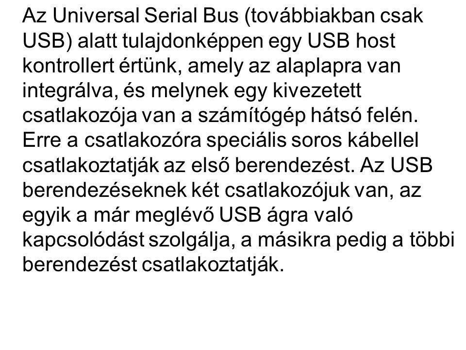 Az Universal Serial Bus (továbbiakban csak USB) alatt tulajdonképpen egy USB host kontrollert értünk, amely az alaplapra van integrálva, és melynek egy kivezetett csatlakozója van a számítógép hátsó felén.