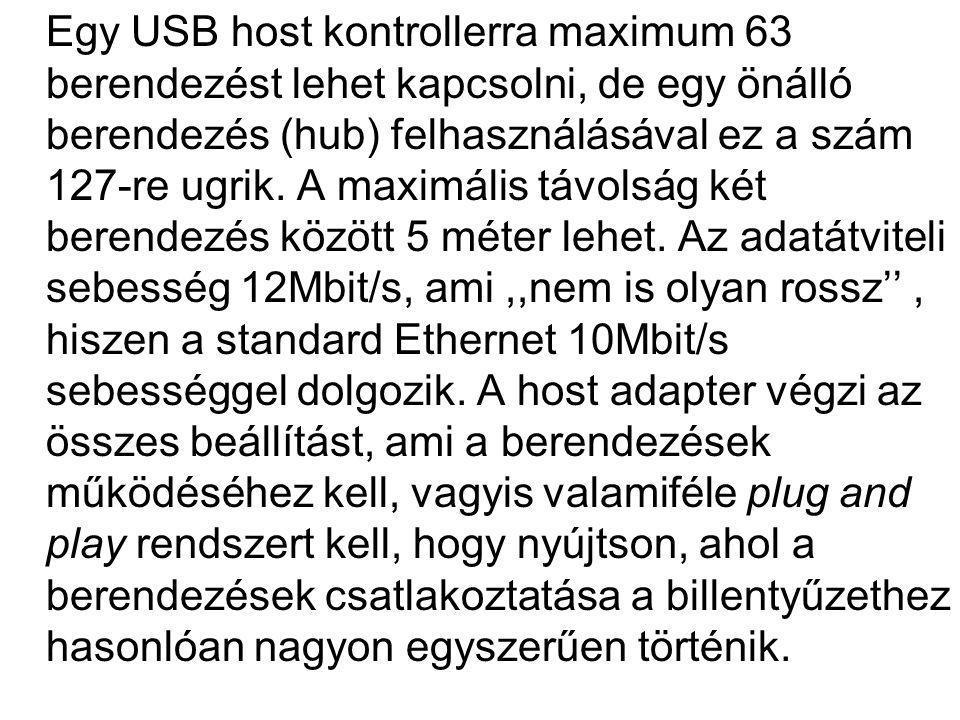 Egy USB host kontrollerra maximum 63 berendezést lehet kapcsolni, de egy önálló berendezés (hub) felhasználásával ez a szám 127-re ugrik.