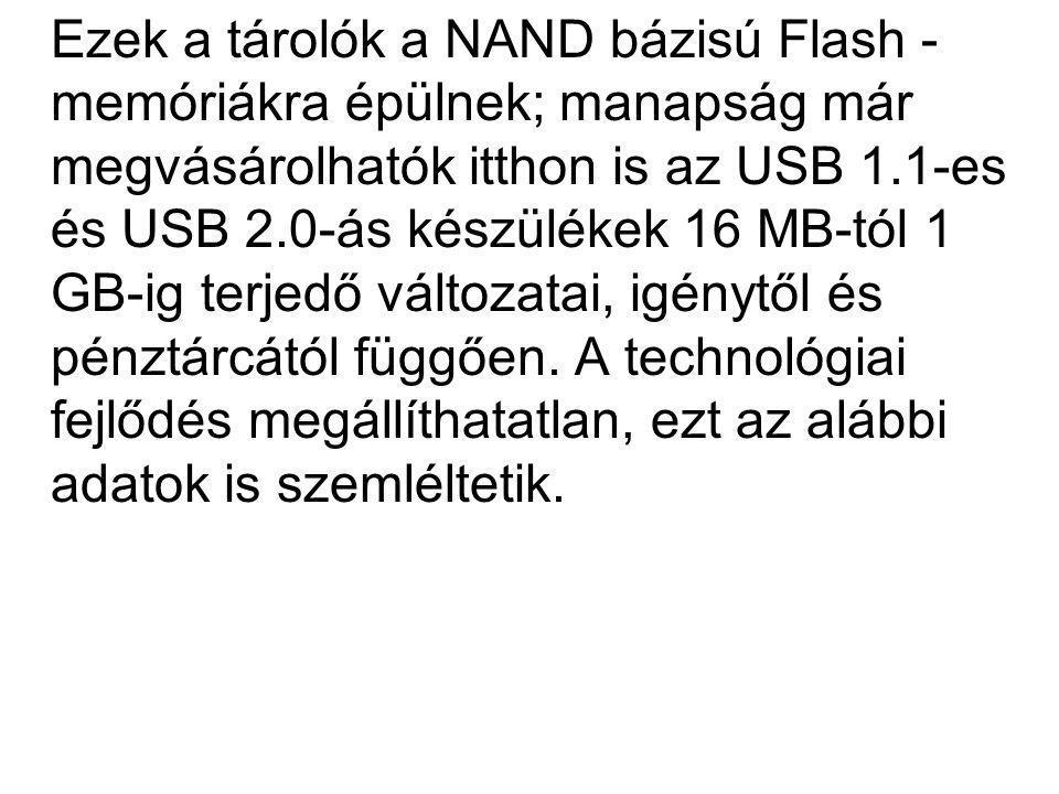 Ezek a tárolók a NAND bázisú Flash -memóriákra épülnek; manapság már megvásárolhatók itthon is az USB 1.1-es és USB 2.0-ás készülékek 16 MB-tól 1 GB-ig terjedő változatai, igénytől és pénztárcától függően.