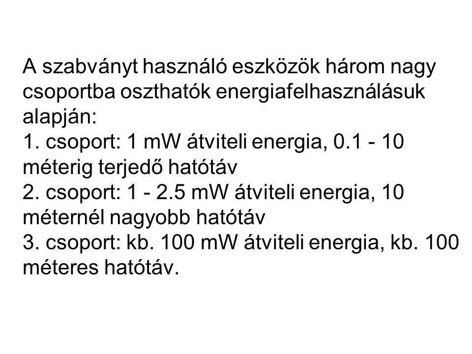 A szabványt használó eszközök három nagy csoportba oszthatók energiafelhasználásuk alapján: 1.