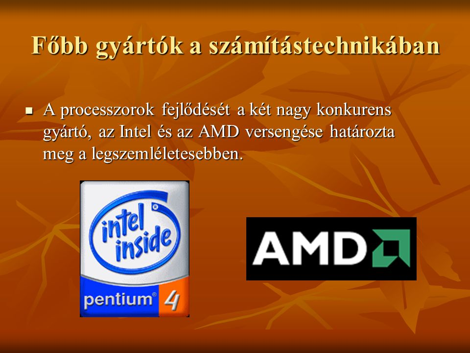 Főbb gyártók a számítástechnikában