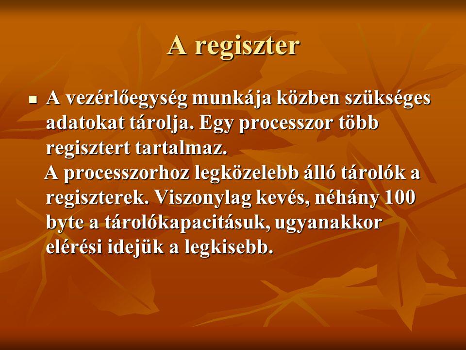 A regiszter A vezérlőegység munkája közben szükséges adatokat tárolja. Egy processzor több regisztert tartalmaz.