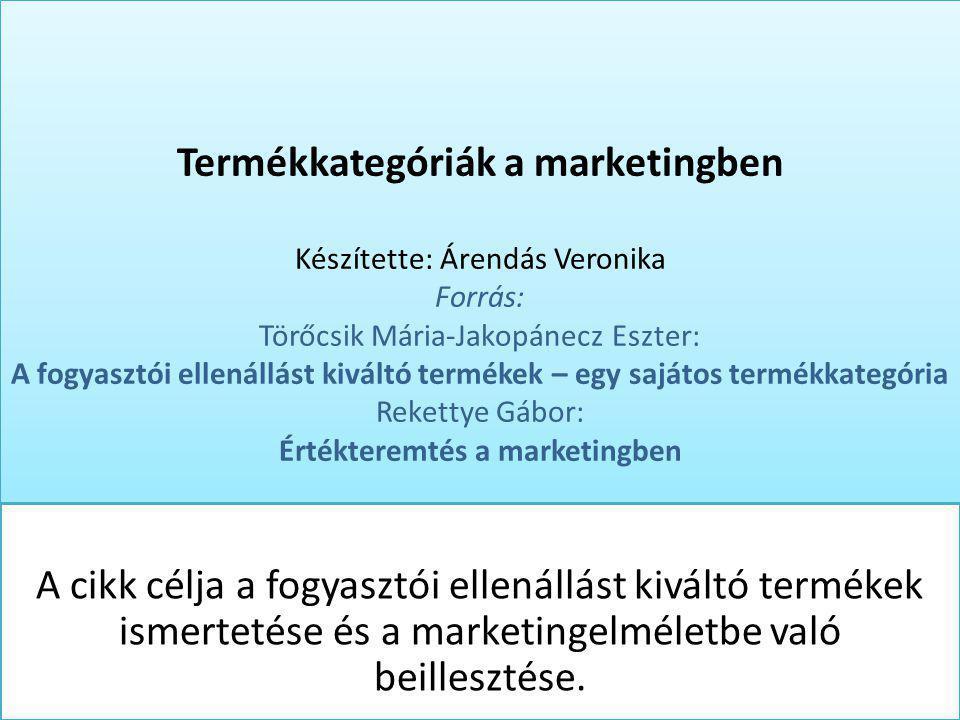 Termékkategóriák a marketingben Készítette: Árendás Veronika Forrás: Törőcsik Mária-Jakopánecz Eszter: A fogyasztói ellenállást kiváltó termékek – egy sajátos termékkategória Rekettye Gábor: Értékteremtés a marketingben