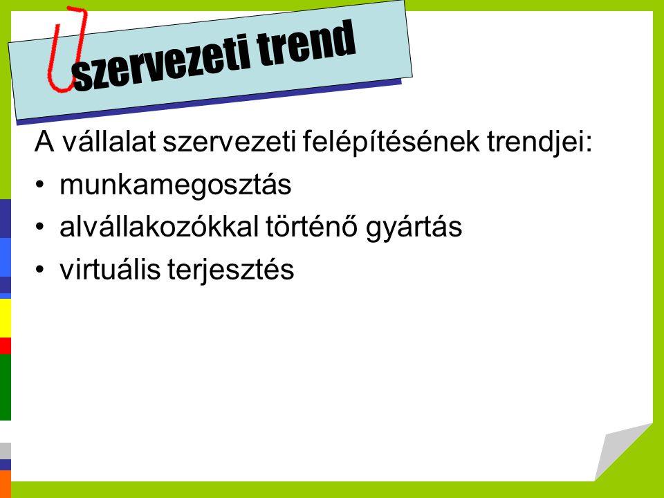 szervezeti trend A vállalat szervezeti felépítésének trendjei: