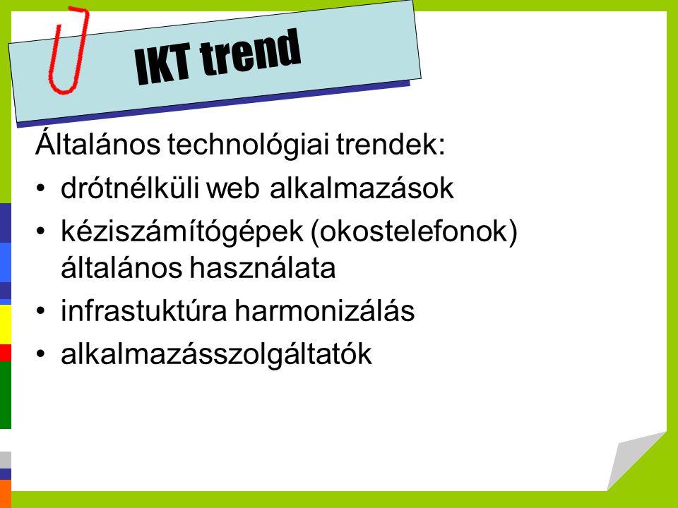 IKT trend Általános technológiai trendek: drótnélküli web alkalmazások