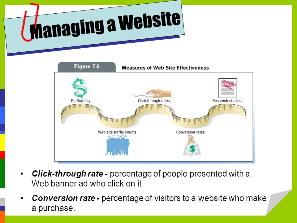 Managing a Website Click-through rate - percentage of people presented with a Web banner ad who click on it.