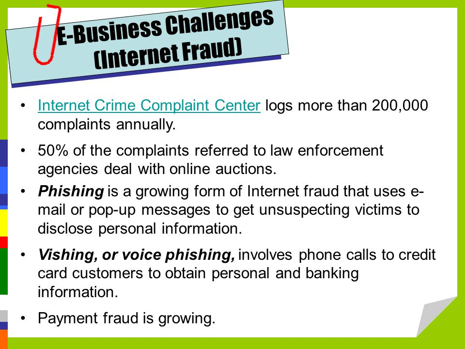 E-Business Challenges (Internet Fraud)