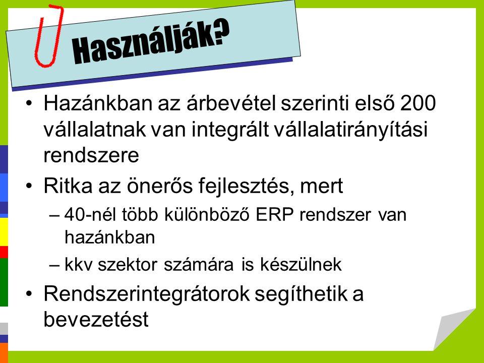 Használják Hazánkban az árbevétel szerinti első 200 vállalatnak van integrált vállalatirányítási rendszere.