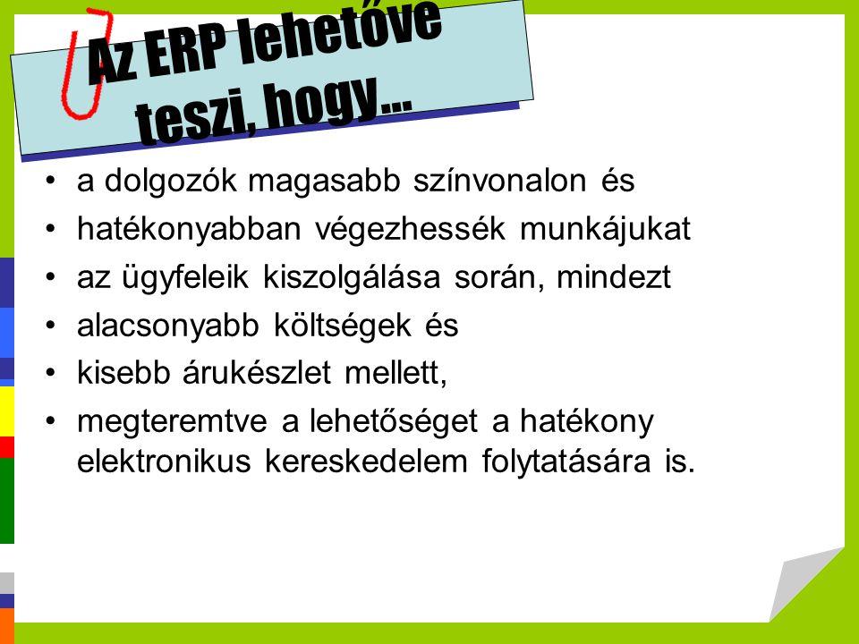 Az ERP lehetővé teszi, hogy...