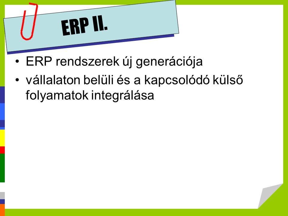 ERP II. ERP rendszerek új generációja