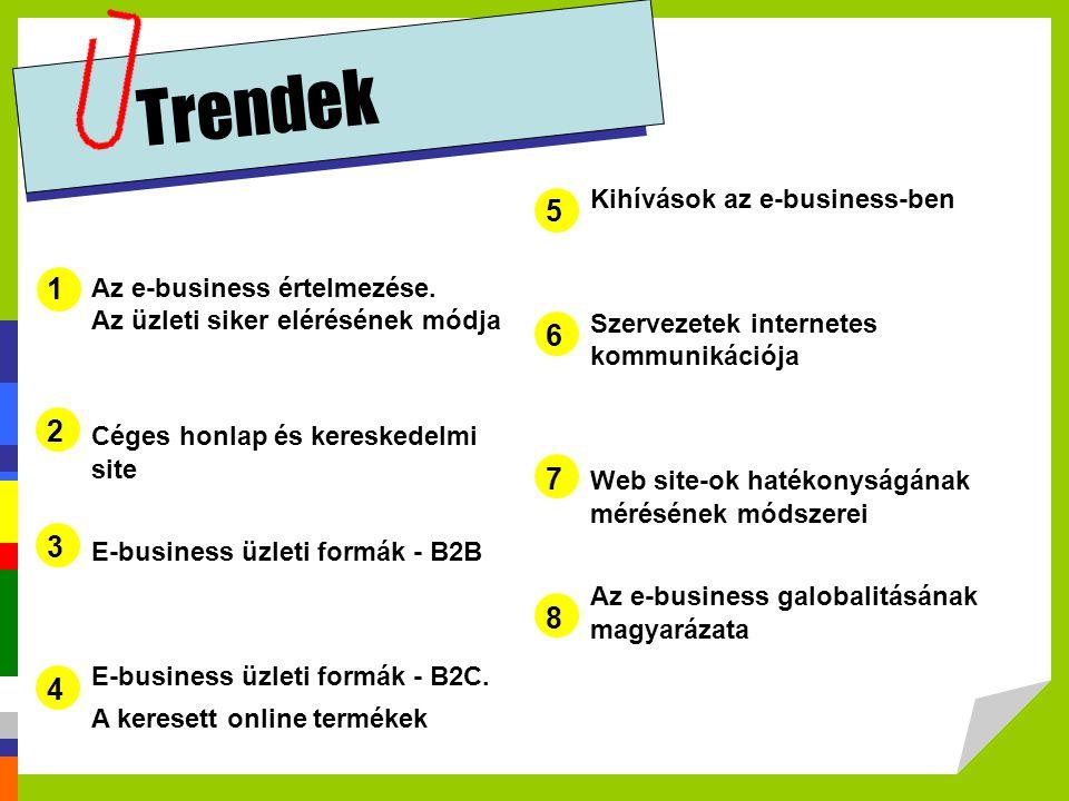 Trendek 5 1 6 2 7 3 8 4 Kihívások az e-business-ben