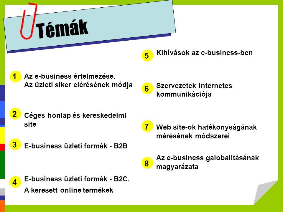 Témák 5 1 6 2 7 3 8 4 Kihívások az e-business-ben