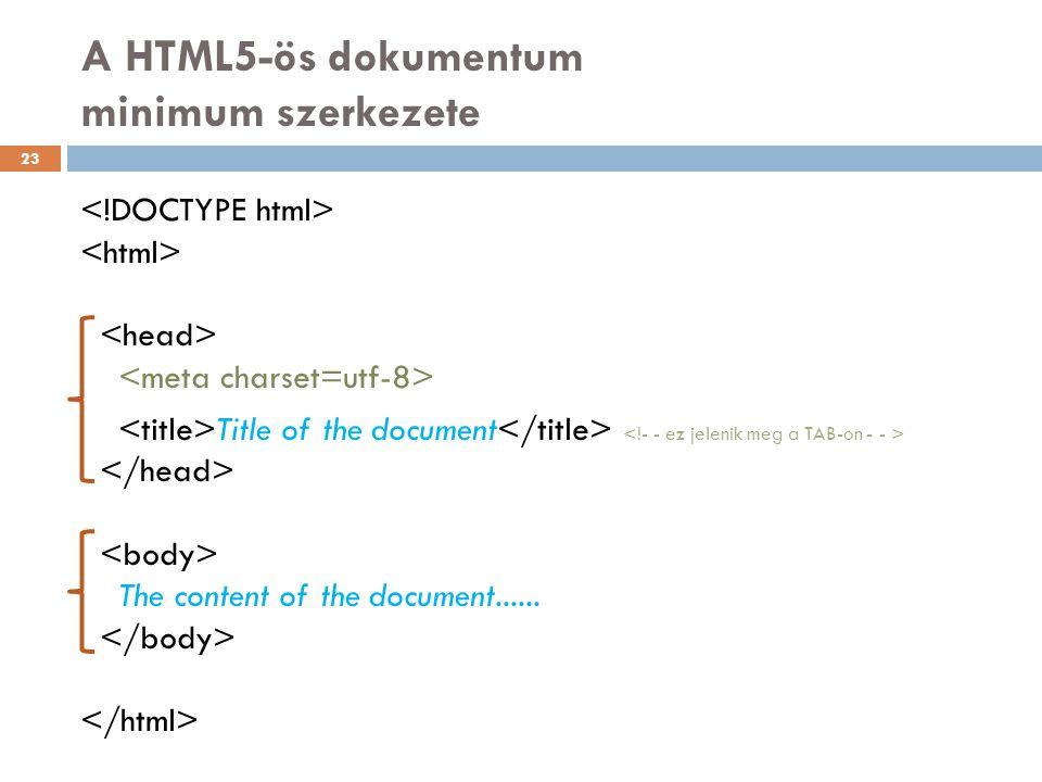 A HTML5-ös dokumentum minimum szerkezete