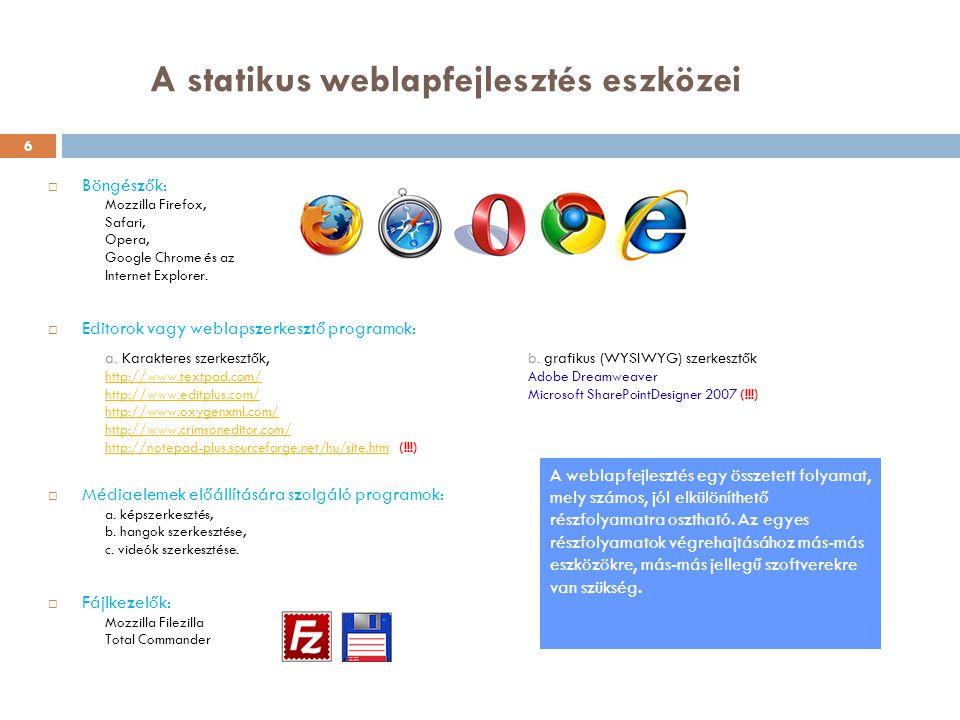 A statikus weblapfejlesztés eszközei