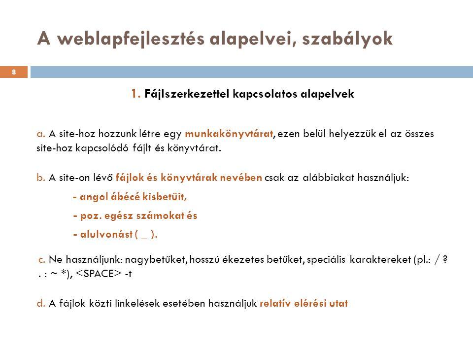 A weblapfejlesztés alapelvei, szabályok