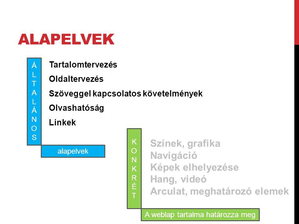 A weblap tartalma határozza meg