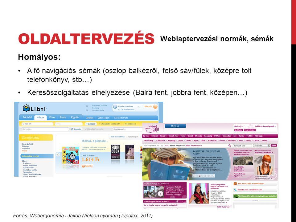 oldaltervezés Homályos: Weblaptervezési normák, sémák