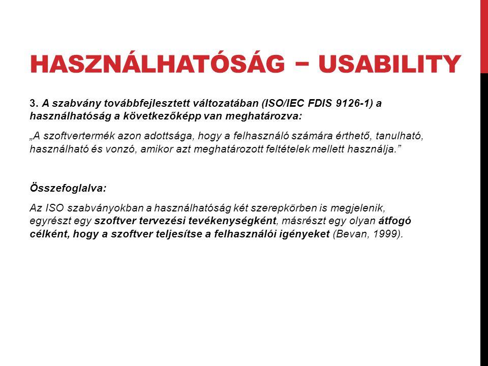 Használhatóság − usability