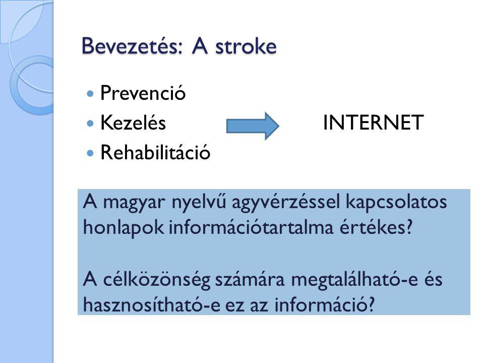 Bevezetés: A stroke Prevenció Kezelés INTERNET Rehabilitáció