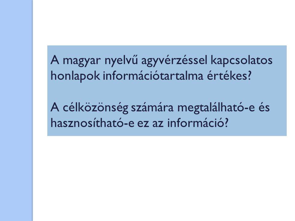A magyar nyelvű agyvérzéssel kapcsolatos honlapok információtartalma értékes