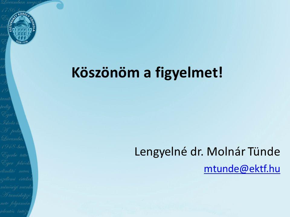 Köszönöm a figyelmet! Lengyelné dr. Molnár Tünde mtunde@ektf.hu