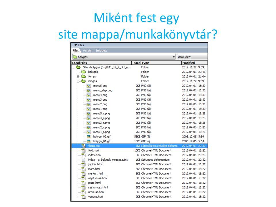 Miként fest egy site mappa/munkakönyvtár