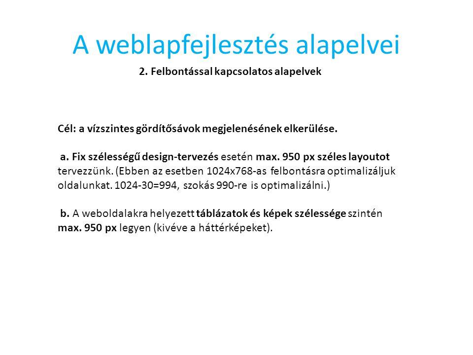 A weblapfejlesztés alapelvei